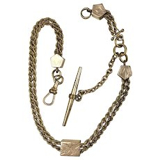 Victorian Gold Double Rope Watch Chain with Slide
