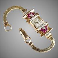 Retro 14K Rose Gold Ruby Diamond Watch Bracelet