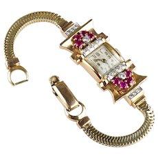 Retro 14K Rose Gold Ruby Diamond Wrist Watch Bracelet     Floral   Exquisite