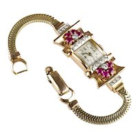 Lovely Retro 14K Rose Gold Ruby Diamond Wrist Watch Bracelet