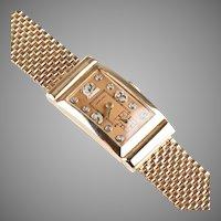 Retro 14K Rose Gold Ruby Hamilton Diamond Watch Unisex