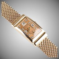 Retro 14K Rose Gold Ruby Hamilton Wrist Watch  Diamond Accents  Unisex  Stunning