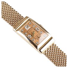 Retro 14K Rose Gold Ruby Hamilton Wrist Watch  Diamond Accents  Unisex  Stunning