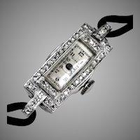 Art Deco Platinum Diamond Wrist Watch by Birks