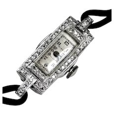 Art Deco Platinum Diamond Wrist Watch by Birks