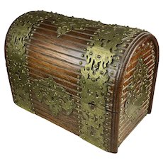 Exceptional Antique English Wood Brass Stationery Box