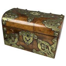 Quality Antique English Burl Wood Brass Tea Caddy Box