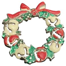 Christmas vintage brooch pin is festive and cheerful