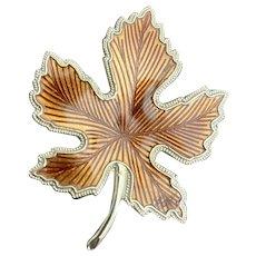Vintage  Brooch Pin Autumn Leaf Goldtone Border