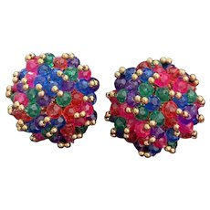 Vintage earring beaded confetti colors