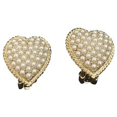 Vintage earrings heart simulated pearls