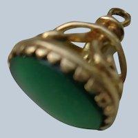 High quality English Fob/Pendant/Charm in 9C Solid Gold w/ Chrysoprace Gemstone