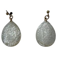 Stunning Carved Floral Mother-of-Pearl Earrings in 14K Gold (Marked)