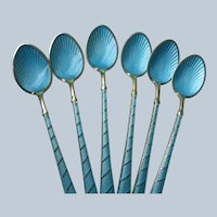 Guilloche Enamel Demitasse Spoons (6) Ela Denmark Mint Condition