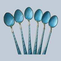Guilloche Enamel Demitasse Spoons (6) Ela Denmark Mint Condition