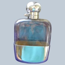 Top of the Line English Flask in Sterling and Glass 1924