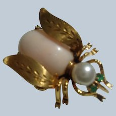 Fine 14K Gold Bug Pin with Coral, Pearl and Emeralds