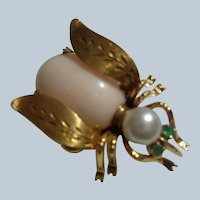 $100 OFF Fine 14K Gold Bug Pin with Coral, Pearl and Emeralds