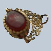 English 9 Carat Gold Three-Sided Swivel Fob Pendant: Carnelian, Onyx, Green Agate
