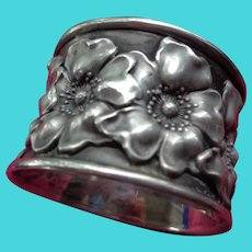 Unger Bros Heavy Sterling Napkin Ring with Anemone Flowers