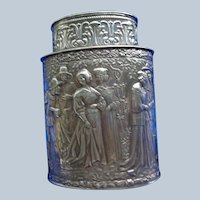 Exquisite Etched Silver Tea Caddy c. 1920
