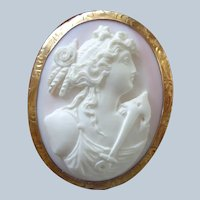 Further Reductions  Angel Skin Pink Coral Cameo Pin/Pendant w/ Nautical Theme 10K Gold