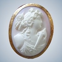 Unusual Angel Skin Pink Coral Cameo Pin/Pendant w/ Nautical Theme 10K Gold