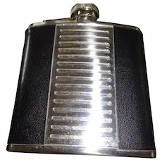 SALE ArtDeco Style Leather and Stainless Steel Flask 1940- 1950