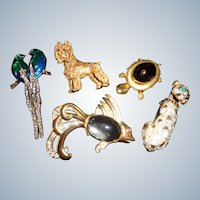 FINAL SALE: A Menagerie of Animal Pin/Brooches 1930-1950