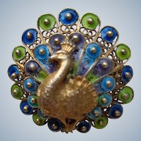 italian Peacock Brooch in Sterling and Enamel