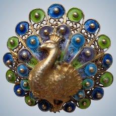 italian Peacock Brooch in Sterling and Enamel