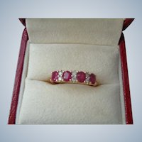FINAL SALE 50% Off Beautiful Ruby and Diamond Ring 18K Size 8 1/2