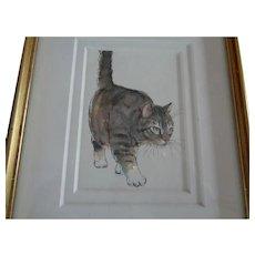 Original Watercolor of Pussy Cat, Framed