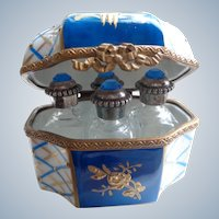 Stunning Limoges Porcelain Box with Four Perfume Bottles