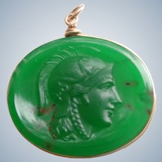 SALE Bloodstone Carved Pendant/Fob of a Roman Soldier 9 C G.F.