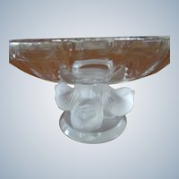 Lalique Crystal Compote or Tazza on Opalescent Bird Stand