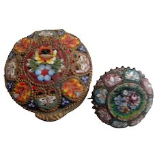 Micro-Mosaic Pin and Box Italy 1920