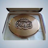 Designer Compact of Gold with Rhinestones Alexandra de Markoff
