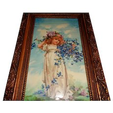 Lovely Porcelain Plaque Hand-Painted in Gold Frame