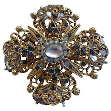 Stunning Gold Filigree Flower Pin/Brooch with Blue Cabochon Stones