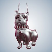 Adorable Little Dog Pin or Pendant with Genuine Garnet Collar in Sterling Silver