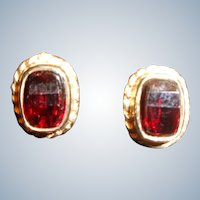 Genuine Garnet Earrings in 9 Carat Gold 1 Carat t.w.
