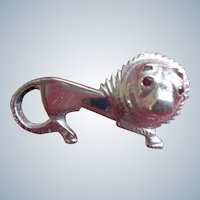 French Sterling Lion Pin/Brooch with Genuine Ruby Eyes Hallmark early 1900's