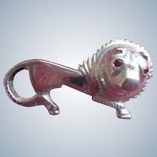 SALE French Sterling Lion Pin/Brooch with Genuine Ruby Eyes Hallmark early 1900's