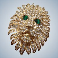 Vintage Lion Pin/Brooch w/ Green Eyes and Rhinestones 1930