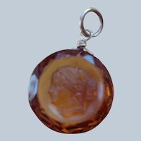 SALECarved Citrine Pendant/Charm with Face of Maiden