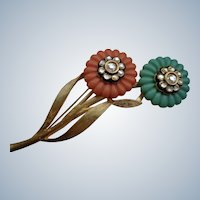 Vintage Designer Brooch with Flowers by Craft