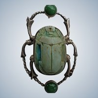 SALE Sterling Brooch/Pendant w/ Green/Blue Scarab and Jade Beads