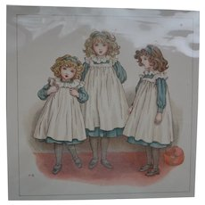 Kate Greenaway Antique Print 1900's from Book April Baby Book of Tunes