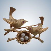 SALE Birds Brooch/Pin 14K Gold w/ Rubies and Pearls